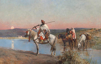 Orientalist Painting - Fording A Stream by Edwin Lord Weeks
