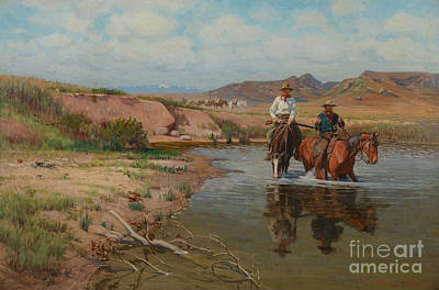 Richard Lorenz Painting - Fording The Bighorn by MotionAge Designs