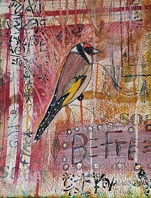 Finch Mixed Media - Foreign Gold Finch by Nancy TeWinkel Lauren
