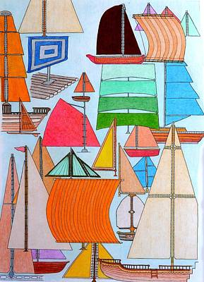 Drawing - Foresails by Gregory Carrico