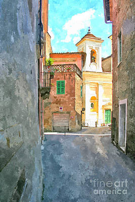 Painting - Foreshortening With Church by Giuseppe Cocco