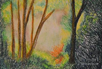Pastel - Forest Aglow - Pastels by Maria Urso