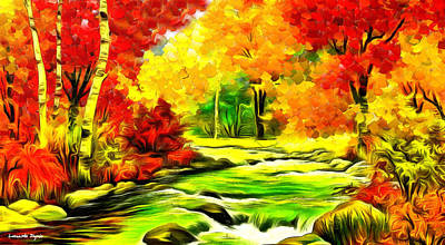 Knife Painting - Forest And River - Pa by Leonardo Digenio