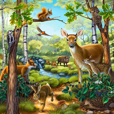 Painting - Forest Animals by Anne Wertheim