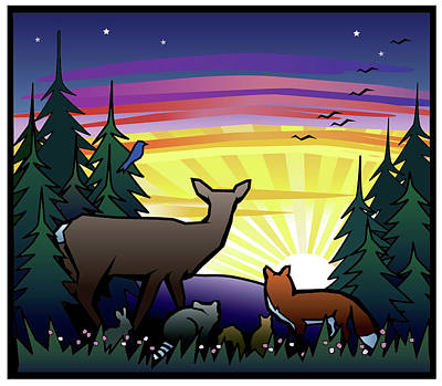 Forest Animals At Sunrise Original by Renee Peterson