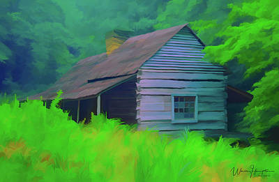 Painting - Forest Cabin 01 by Wally Hampton