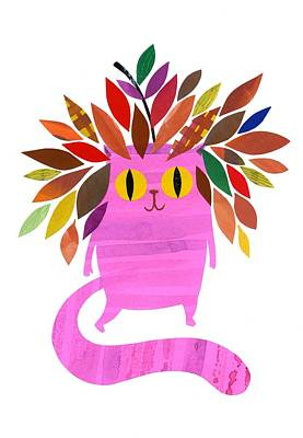 Cute Cartoon Mixed Media - Forest Cat by Anne Vasko