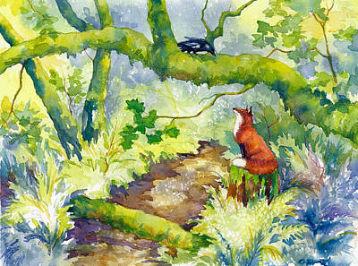 Red Fox Painting - Forest Conversations by Peggy Wilson