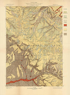 Mountain Drawings - Forest cover map 1886-87 - Bald Mountain Quadrangle - wyoming - Geological Map by Studio Grafiikka