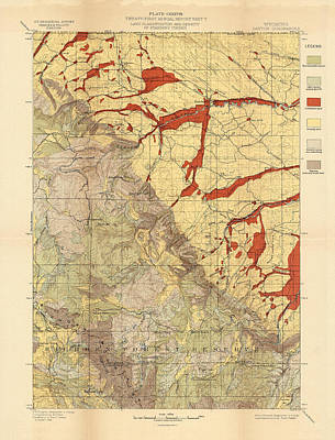 Drawing - Forest Cover Map 1886-87 - Dayton Quadrangle - Wyoming - Geological Map by Studio Grafiikka