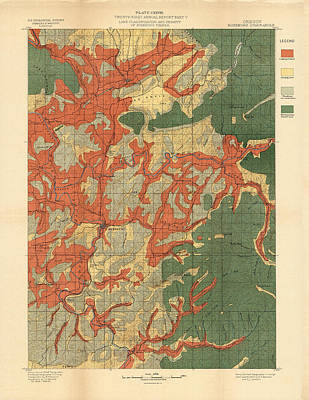 Royalty-Free and Rights-Managed Images - Forest cover map 1886-87 - Roseburg Quadrangle - Oregon - Geological Map by Studio Grafiikka