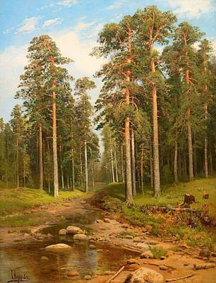 Beautiful Creek Painting - Forest Creek by Mountain Dreams