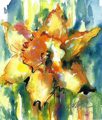 Painting - Forest Daffodil In Rain by Jacki Kellum
