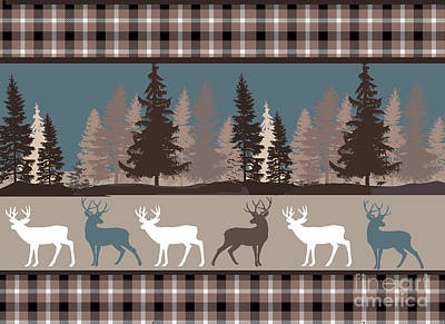 Stag Painting - Forest Deer Lodge Plaid II by Mindy Sommers