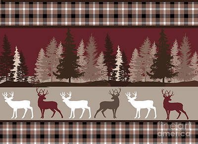 Forest Deer Lodge Plaid Art Print