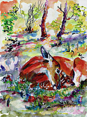 Fawn Mixed Media - Forest Doe And Fawn Whimsical Watercolor by Ginette Callaway