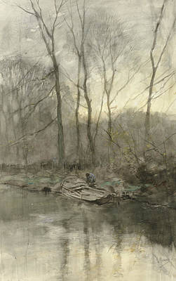 Mauve Painting - Forest Edge On The Water by Anton Mauve