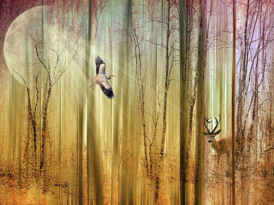 Abstract Digital Digital Art - Forest Fantasy  by Jessica Jenney