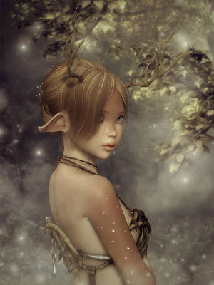 Digital Art - Forest Faun by Rachel Dudley