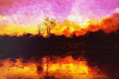Dry Lake Digital Art - Forest Fire by Mark Taylor