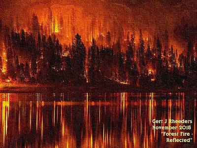Forest Fire - Reflected H A Print by Gert J Rheeders