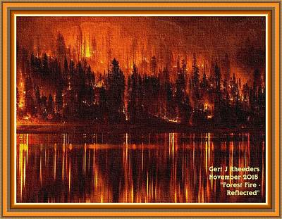 Forest Fire - Reflected H A With Decorative Ornate Printed Frame. Print by Gert J Rheeders