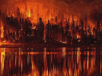 Forest Fire - Reflected H B Print by Gert J Rheeders