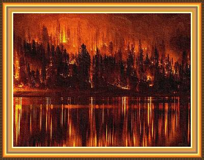 Forest Fire - Reflected H B With Decorative Ornate Printed Frame. Print by Gert J Rheeders