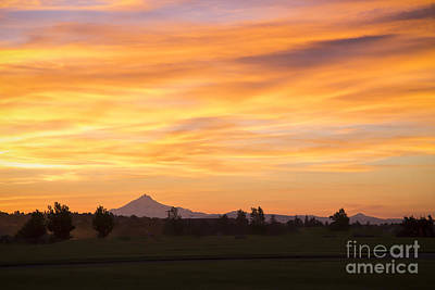 Redmond Photograph - Forest Fire Sunset Over Mount Jefferson by Twenty Two North Photography
