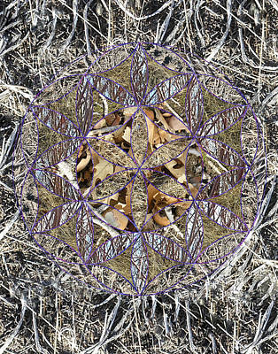 Green Surreal Geometry Digital Art - Forest Floor Flower Of Life Purple by Joanna Whitney