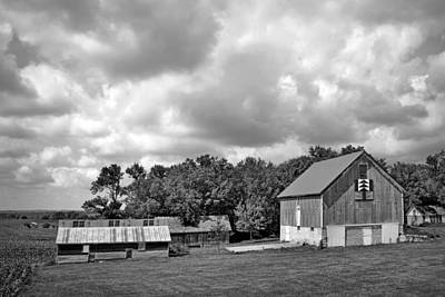 Forest For The Trees - Quilt Barn - Nebraska Art Print by Nikolyn McDonaldFarm Scene - Barns - Nebraska - BW