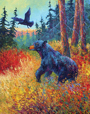 Crow Painting - Forest Friends by Marion Rose