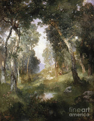 20th Century Painting - Forest Glade by Thomas Moran
