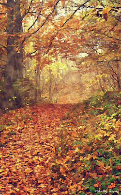 Outdoor Painting - Forest-golden Brown-03 by Nikolay Ivanov