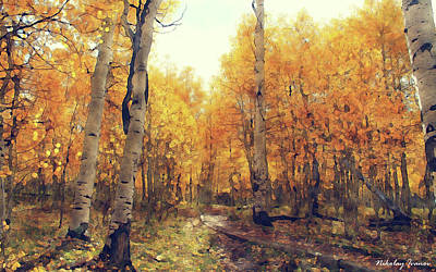 Bohemia Digital Art - Forest-golden Brown-04 by Nikolay Ivanov