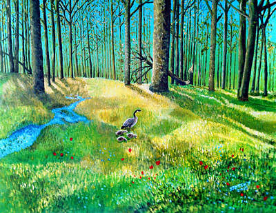 Early Spring Digital Art - Forest Gooselings by Edward Stotsky