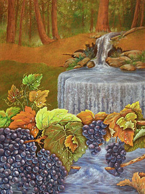 Blue Grapes Drawing - Forest Grapes by Teresa Frazier