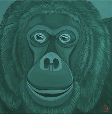 Painting - Forest Green Orangutan by Sarah Jean