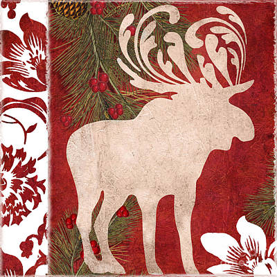 Forest Holiday Christmas Moose Art Print by Mindy Sommers