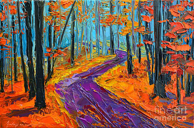 Vivid Colour Painting - Autumn Forest And Purple Path - Orange Red Foliage - Modern Impressionist Knife Palette by Patricia Awapara