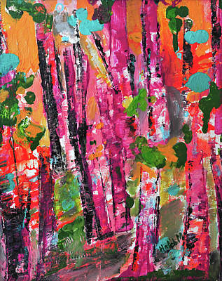 Mixed Media - Forest In Sunset by Haleh Mahbod