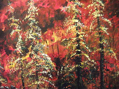 Art Print featuring the painting Forest In The Red by Dan Whittemore