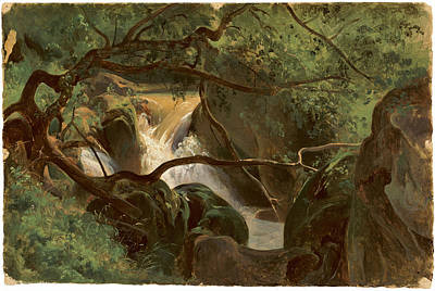 Forest Interior With A Waterfall Papigno Art Print