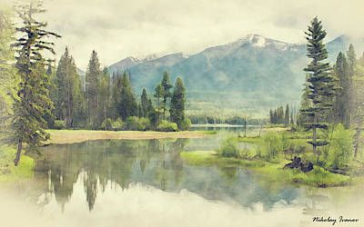 Outdoor Painting - Forest-lake-05 by Nikolay Ivanov