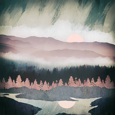Abstract Landscape Royalty-Free and Rights-Managed Images - Forest Lake Evening by Spacefrog Designs