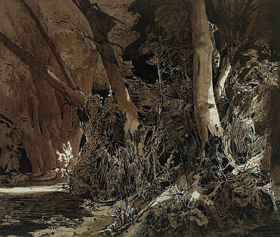 Forest Landscape With Flowing Water And Two Hunters Art Print by Carl Blechen