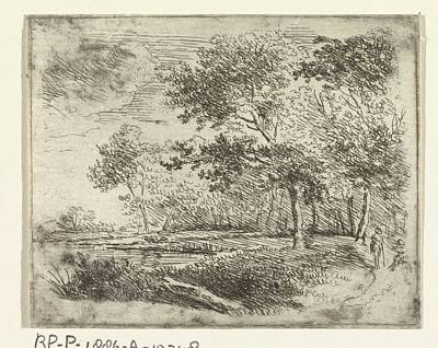 Graduation Sayings - Forest landscape with two figures, Johannes Janson possibly, 1739 - 1851 by Johannes Janson