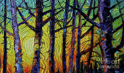 Winterscape Painting - Forest Layers 1 - Modern Impressionist Palette Knives Oil Painting by Mona Edulesco