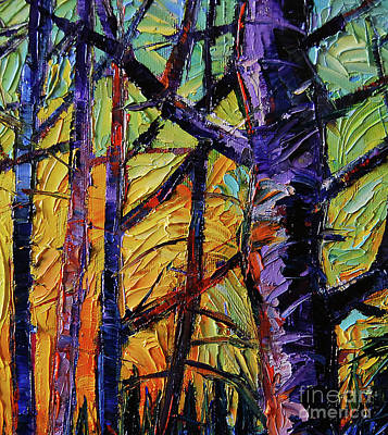 Pine Tree Painting - Forest Layers 2 - Modern Impressionist Palette Knives Oil Painting by Mona Edulesco