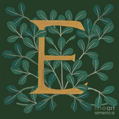 Forest Leaves Letter E Art Print
